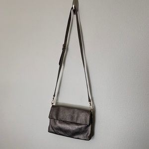 Halogen Crossbody Purse Metallic Pewter Small Bag